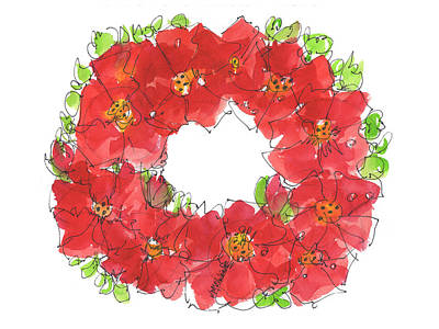 Poppies Field Painting - Poppy Wreath by Kathleen McElwaine