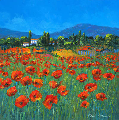 Italian Landscape Painting - Poppyfield by Chris Mc Morrow