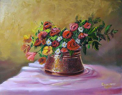 Naturmort Painting - Poppys by Eli Marinova