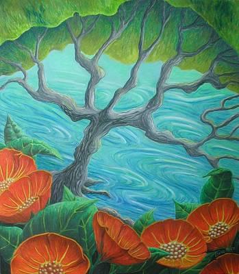 Drawing - Poppystream by Lynne Renzenberger