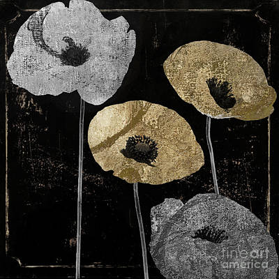 Black And Silver Painting - Poppyville by Mindy Sommers