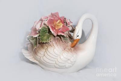 Porcelain Swan With Roses Original