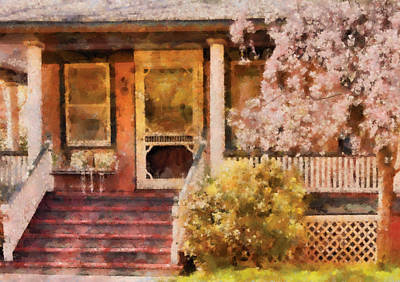 Photograph - Porch - Cranford Nj - Pretty In Pink by Mike Savad