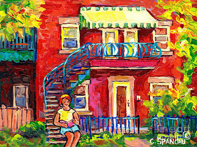 Painting - Porch And Awning Duplex Staircase Girl Reading Verdun Montreal Streets  Plateau Mont Royal Cspandau  by Carole Spandau