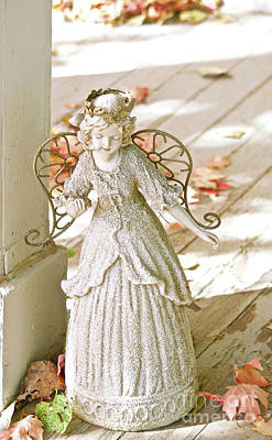 Photograph - Porch Angel In The Fall by Cindy Schneider