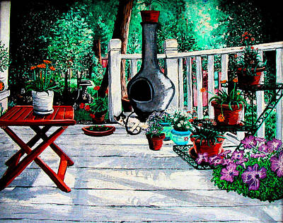 Painting - Porch Cat Sleeps by Laura Brightwood