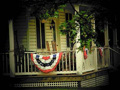 4th July Photograph - Porch Flag by Michael L Kimble
