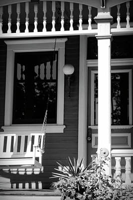 Photograph - Porch In Black And White by Ann Powell