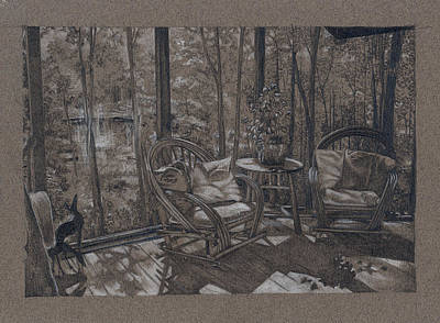 Porch In Woods Art Print by Penny Cash