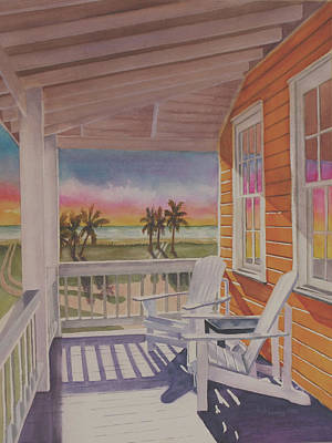 Wall Art - Painting - Porch Sunset  by Terry Arroyo Mulrooney