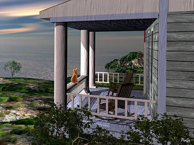 Digital Art - Porch View by John Pangia