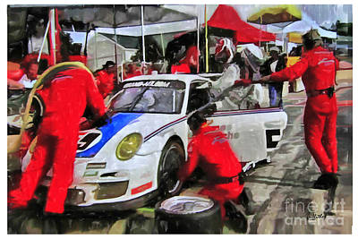 Porche Photograph - Porche Pit Crew by Tom Griffithe
