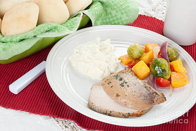 Vinaigrette Photograph - Pork Roast With Mashed Potatoes And Brussells Sprouts by Vizual Studio