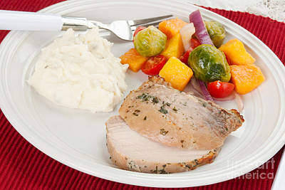 Vinaigrette Photograph - Pork Roast With Mashed Potatoes And Brussells Sprout Salad by Vizual Studio