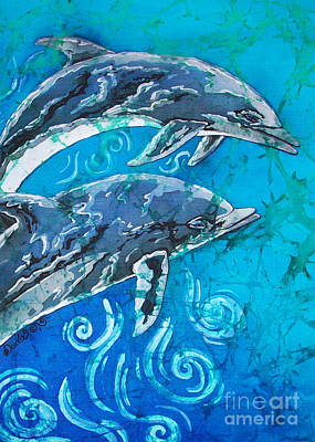 Underwater Painting - Porpoise Pair - Close Up by Sue Duda