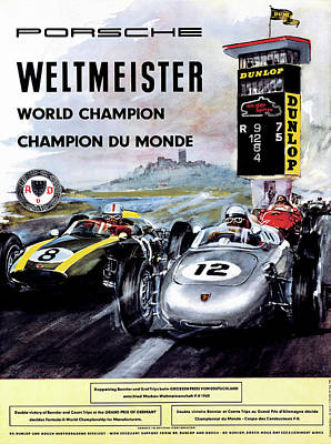 Digital Art - Porsche 1960 Weltmeister World Champion Du Mond by Bill Cannon