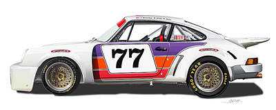 Porsche 1977 Rsr Illustration Original by Alain Jamar