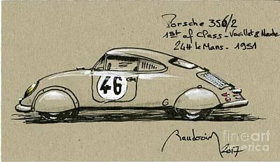 919 Painting - Porsche  356/2 Le Mans 1951 by Alain Baudouin