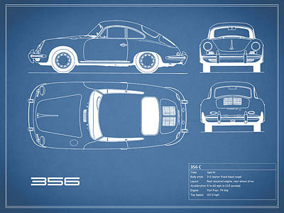 Poster Photograph - Porsche 356 C Blueprint by Mark Rogan