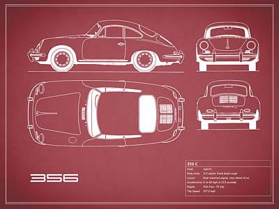 Photograph - Porsche 356 C Blueprint - Red by Mark Rogan