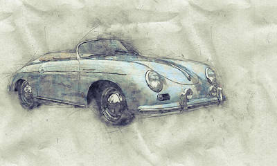 Mixed Media - Porsche 356 - Luxury Sports Car 1 - 1948 - Automotive Art - Car Posters by Studio Grafiikka