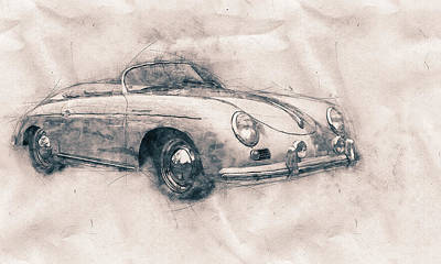 Mixed Media - Porsche 356 - Luxury Sports Car - 1948 - Automotive Art - Car Posters by Studio Grafiikka