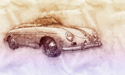 Mixed Media - Porsche 356 - Luxury Sports Car 2 - 1948 - Automotive Art - Car Posters by Studio Grafiikka