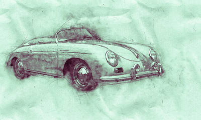 Mixed Media - Porsche 356 - Luxury Sports Car 3 - 1948 - Automotive Art - Car Posters by Studio Grafiikka