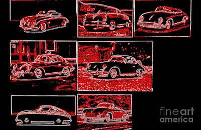Photograph - Porsche 356 Magnificent Seven Neon by Richard W Linford