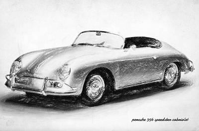 Cobra Drawing - Porsche 356 by Taylan Apukovska