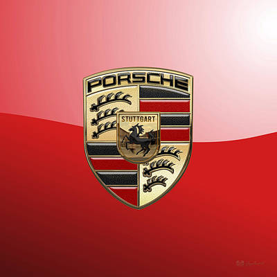 Digital Art - Porsche - 3d Badge On Red by Serge Averbukh