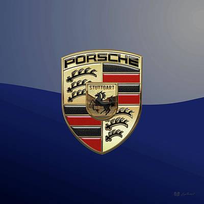 Digital Art - Porsche 3d Badge Special Edition On Blue by Serge Averbukh