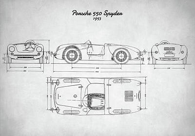 550 Digital Art - Porsche 550 Spyder by Taylan Apukovska