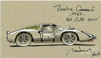 919 Painting - Porsche 906 Carrera 6 by Alain Baudouin