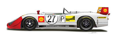 Martini Drawing - Porsche 908/02  by Alain Jamar