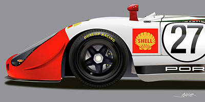 Drawing - Porsche 908 Detail Illustration by Alain Jamar