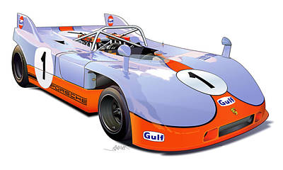 porsche 908 GULF illustration Original by Alain Jamar