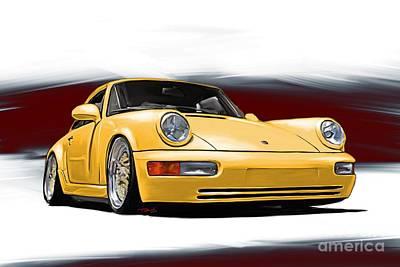 Sportscar Drawing - Porsche 911 964 Carrera by Reinhold Fine Art