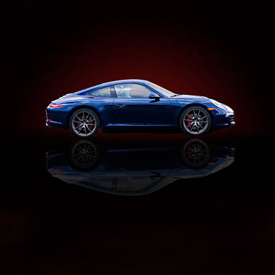 With Red Photograph - Porsche 911 Carrera - Blue by TL Mair