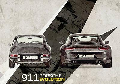 Transportation Digital Art - Porsche 911 Evolution by Yurdaer Bes