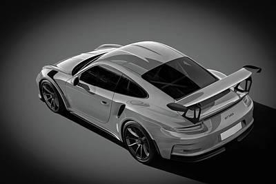 Digital Art - Porsche 911 Gt3 Rs Bw by Roger Lighterness