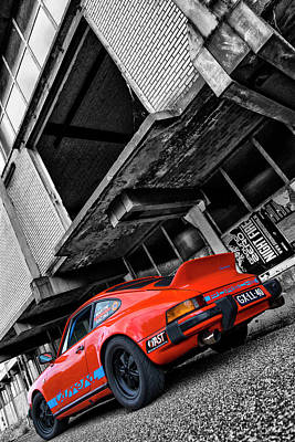 912 Photograph - Porsche 911 In Orange And Black And White by 2bhappy4ever