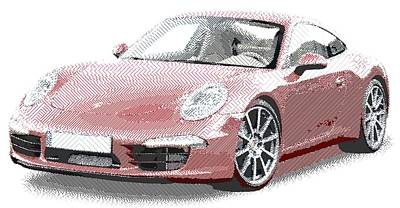 Drawing - Porsche 911 - Parallel Hatching by Samuel Majcen