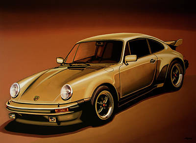 Acryl Painting - Porsche 911 Turbo 1976 Painting by Paul Meijering