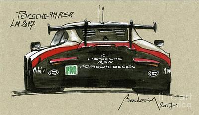 919 Painting - Porsche  911 Rsr Le Mans 2017 - 2nd by Alain Baudouin