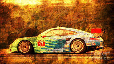Red Digital Art - Porsche 911 Rsr, Golden Vintage Background, Gift For Men by Pablo Franchi