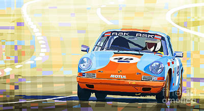 Transportation Mixed Media - Porsche 911 S  Classic Le Mans 24  by Yuriy  Shevchuk