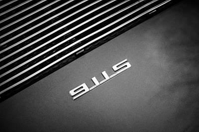 Photograph - Porsche 911 S Targa Emblem -ck0096bw by Jill Reger