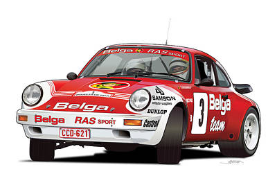 Championship Drawing - Porsche 911 Sc Rs Belga Team by Alain Jamar