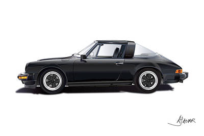 German Drawing - porsche 911 SC Targa by Alain Jamar